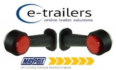 PAIR OF MAYPOLE MP8706B LED RED WHITE LENS RUBBER STALK TRAILER LORRY MARKER LIGHTS